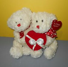 Happy Together Bears Hugging Couple Valentine Plush w/ Red Heart Ring Box