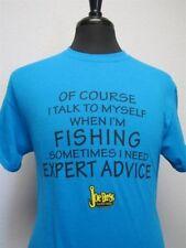 "Joe Bass ""Of Course I Talk To Myself When I'm Fishing..."" T-Shirt, Blue, Medium"