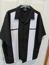 New listing Button Up Bowling Shirt men's size 2XL rockabilly black & white panel MT:2 VGC