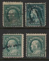 1917 Sc 511 11c green, lot of 4 used singles