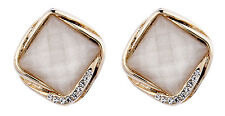 Clip On Earrings - gold plated vintage white stone & Crystals stud - Betty W