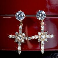 18k yellow gold gf stud made with Swarovski crystal cross dangle star earrings