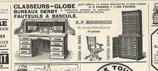 """PARIS """" ETS MOORHOUSE CLASSEURS BUREAUX FAUTEUILS """" TOUTE PETITE PUBLICITE 1898"""