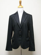 RENE LEZARD Black Chalk Stripe Wool Flannel Blazer Jacket Size 40