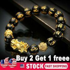 Feng Shui Black Obsidian Alloy Wealth Golden Pixiu Bracelet Lucky Jewelry USA 2r