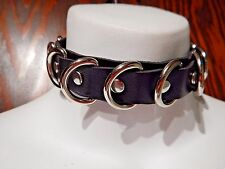 BLACK D-RING DOG-STYLE COLLAR bondage punk goth fetish BDSM vegan PVC choker 5Y