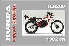 HONDA Parts Manual TLR200 1982 1983 1984 1985 1986 on Spares Catalog List