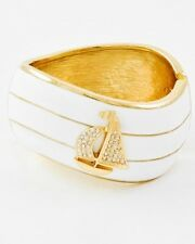 Boutique White & Gold Crystal SAILBOAT ANCHOR Hinged Cuff Bangle Bracelet NWT