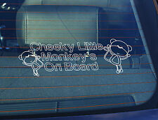 Static Cling Window Car Sign/Decal Cheeky Little Monkeys on Board 100 x 250mm