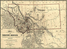 "1865 Map of MONTANA, Antique, United States, History, America, 24x16"" print"