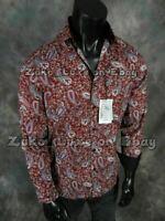 Mens COOGI LUXE Shirt Rich Burgundy Paisley Black Trim Dress Button Up