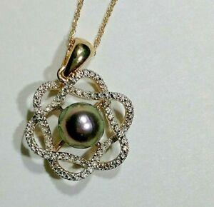 10kt Gold Black Akoya Pearl Necklace Basket Setting W/ Diamonds 18 Inch Chain