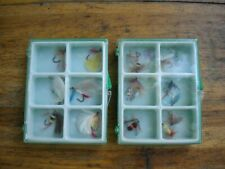 Vintage JAPAN Made Fly Fishing Flies in Storage Cases New Old Stock