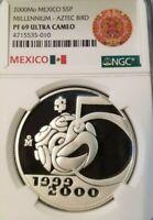 2000 MEXICO S5P MILLENNIUM AZTEC BIRD NGC PF 69 ULTRA CAMEO SCARCE TOP POP !!!