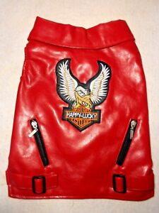 """(SM-MED BREED) """"HAPPY LUCKY""""  XS-XXL RED PU LEATHER BIKER  PET DOG VEST"""