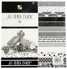 "Jet Black White 12""x12"" Cardstock 48 Papers 24 Designs DCWV 1/2 Glitter Foil New"