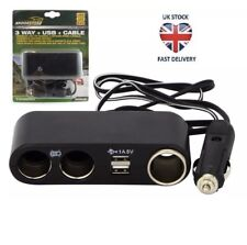 Heavy Duty 3x 12V / 24V Socket Extension Plug 2x USB Ports Cable CAR VAN Truck