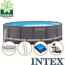 INTEX Piscina Fuoriterra ULTRA METAL FRAME rotonda 488x122 cm con pompa a sabbia