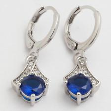 Earrings 9ct White Gold Blue Sapphire & Diamond Drop 28 mm Pagoda Gift