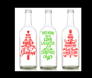 Vinyl Decal Sticker for Wine bottle diy christmas designs 3 TO CHOOSE FROM