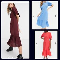 New Look Dress Size 8 10 & 12 Burgundy Blue Red Midi Tie Sleeve Tiered New HM78