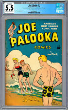 JOE PALOOKA #2 CGC 5.5 RARE/HTF GOLDEN AGE GEM HAM FISHER STORY COVER & ART 1946