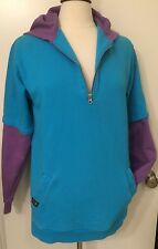 Airblaster Stay Wild Half Zip Turquiose & Purple Size M Hoodie Val Surf Great!