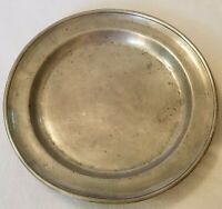 """Antique Primitive Pewter Charger 14"""" Diameter 19th Century Unmarked 1-3/4"""" Deep"""