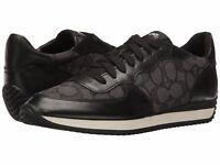 New Coach Farah Signature Outline Fabric Napa Sneakers Black-Smoke-Coal Shoes