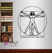 Vinyl Decal Vitruvian Man by Leonardo da Vinci Art Wall Sticker Mural Decor 1760