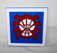 """SPIDER-MAN SIGN - SOLID PLASTIC  ( 8"""" SQUARE ) ROOM - WALL DECOR ** BLUE & WHITE"""