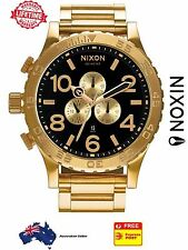 Nixon 51-30 Chrono Gold Black Mens Watch A083-510 A083510 Stainless Steel