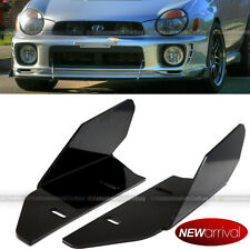 Fit CRX Black ABS Front Bumper Lip Splitter Canards Semi Glossy Finish