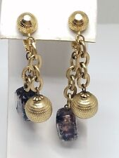 Crown Trifari Clip On Vintage Hanging Earrings
