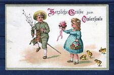 Prägedruck Ansichtskarte Herzliche Grüße zum Osterfeste - 00423