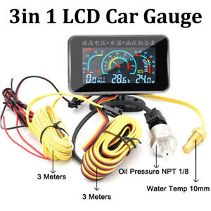 3 In1 LCD Car Digital Gauge Voltmeter/Oil Pressure/Water Temp 12-24V 1/8 NPT