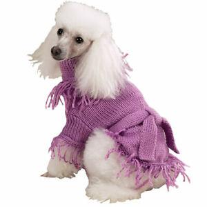 Zack & Zoey Fringe Belted Dog Sweater Acrylic Female Warm Fashionable Lilac