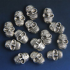 Free 15Pcs Antique Silver Skull Bracelet Spacer Bead Findings Hole 1.2mm Bead312