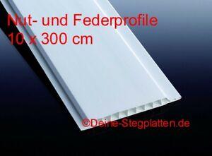 Profilbretter Nut- und Feder, Kunststoff, weiß, 10 cm x 300 cm