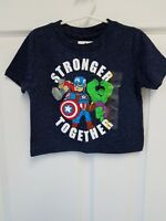 Toddler Boys Marvel Short Sleeve 'Stronger Together' Hero T-Shirt - Navy 12M