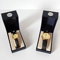 Sekonda His & Her Quartz Watches - Gold Plated with Black Straps - 3270/4270 New