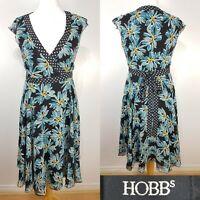 Hobbs Black Blue Floral Print 100% Silk True Wrap Dress Size 10 Wedding Cruise