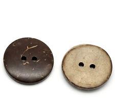 100 Braun 2 Löcher Kokosnuss Knopf/Knöpfe Buttons Nähen Basteln 20mm D.