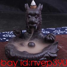 """Ceramic Backflow Incense Holder Burner """"Dragon"""" Clay incense burner home decor"""