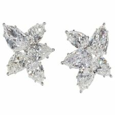 Diamond Cluster Earrings 11.82 carats of colorless white pear shaped diamonds