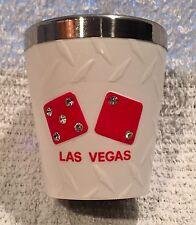 Las Vegas Nevada NV Souvenir Shot Glass Dice Rhinestones Plastic Stainless