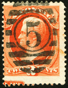 #178 1875 2c Vermillion EFO w/Part of Continental Imprint at Bottom Scarce Used