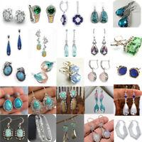 Elegant 925 Sterling Silver Retro Turquoise Dangle Drop Earrings Ear Studs Gift
