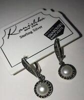 Kanishka New York Sterling Silver Swaroski Marcasite & Pearl Earrings Retail $68