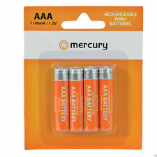 Mercury AAA Rechargeable NiMH 1100mA 1.2V Batteries x 4